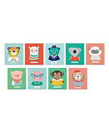 Tiny 'Tudes Set of 9 Animal Wall Art Giclees Includes 9 Designs - Tiger, Bear, Cat, Koala, Pig, Monkey, Dog, Sheep, Llama