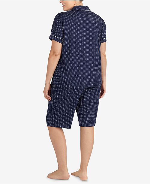 877635be71 ... Lauren Ralph Lauren Bingham Bermuda Plus Size Printed Cotton Pajama Set  ...