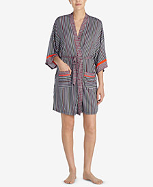 Layla Mixed-Print Short Wrap Robe