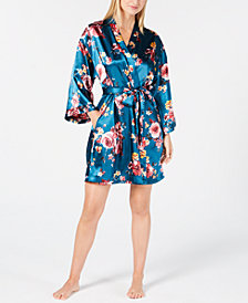Thalia Sodi Floral-Print Short Wrap Robe, Created for Macy's