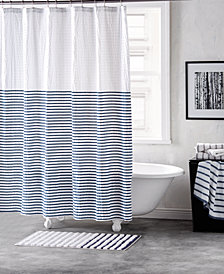 "DKNY Parsons Cotton Colorblocked Stripe 72"" x 72"" Shower Curtain"