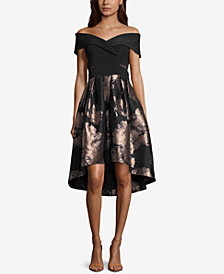 Xscape Off-The-Shoulder Metallic Fit & Flare Dress
