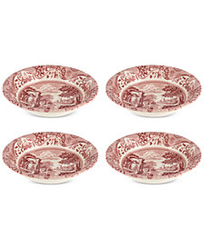 Spode Cranberry Italian Ascot Cereal Bowl, Set of 4