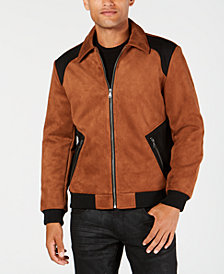I.N.C. Men's Classic Fit Suede Colorblocked Jacket, Created for Macy's