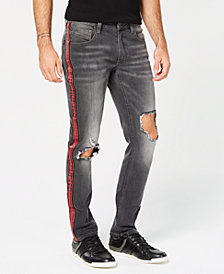 I.N.C. Men's Skinny Ripped Side Stripe Jeans, Created for Macy's