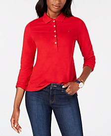 Tommy Hilfiger Five-Button Long-Sleeve Polo Shirt, Created for Macy's