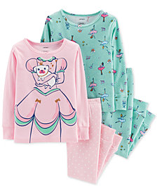 Carter's Toddler Girls 4-Pc. Princess Ballerina Cotton Pajama Set