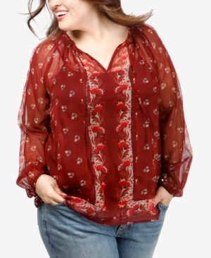 Trendy Plus Size Printed Peasant Top in Red Multi