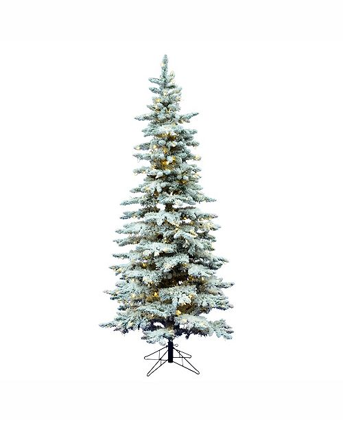Vickerman 7.5\' Flocked Utica Fir Slim Artificial Christmas Tree ...