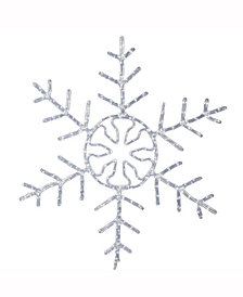 "36"" Forked Snowflake Christmas Ornament with 240 Pure White LED Lights"