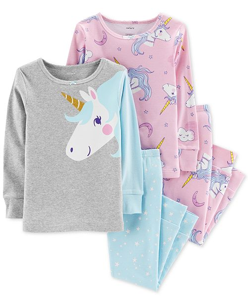 3f1fe10f1510 Carter s Toddler Girls 4-Pc. Unicorn Snug-Fit Cotton Pajama Set ...