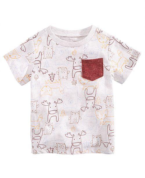 0b65ef746 First Impressions Baby Boys Animal-Print Pocket T-Shirt