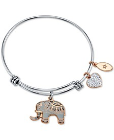 """All Good Things are Wild and Free"" Elephant Charm Adjustable Bangle Bracelet in Rose Gold-Tone & Stainless Steel"