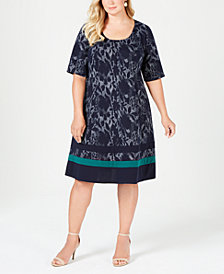Robbie Bee Plus Size Printed Dress