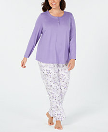 Charter Club Plus Size Soft Knit Pajama Set, Created for Macy's