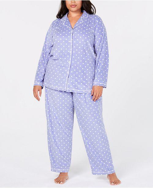 923f50e731d Charter Club Plus Size Printed Fleece Pajama Set