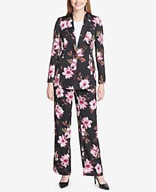 Calvin Klein One-Button Floral-Print Jacket & Soft Pants