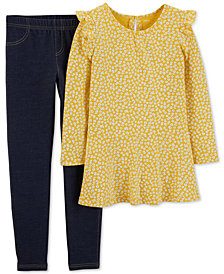Carter's Little & Big Girls 2-Pc. Floral-Print Tunic & Denim Leggings Set