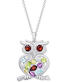 "Multi-Gemstone Openwork Owl 18"" Pendant Necklace (2-1/8 ct. t.w.) in Sterling Silver"