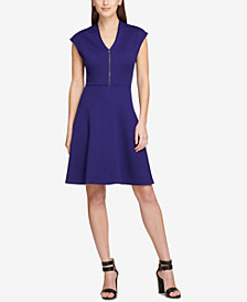DKNY Cap-Sleeve V-Neck Fit & Flare Dress, Created for Macy's