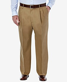 Men's Big & Tall Premium No Iron Khaki Classic-Fit Pleated Hidden Expandable Waistband Pants