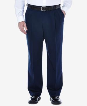 Men's Big & Tall Premium No Iron Khaki Classic-Fit Pleated Hidden Expandable Waistband Pants