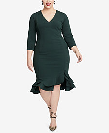 RACHEL Rachel Roy Plus Size Tiered Ruffled Sheath Dress