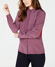 Weekend Max Mara Silk Contrast-Back Button-Down Shirt
