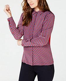 Weekend Max Mara Silk Contrast-Back Button-Down Shirt