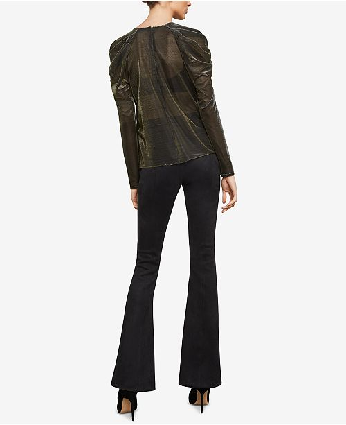 Top Shoulder GOLD Metallic BCBGMAXAZRIA BLACK Draped YqnB0t