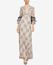 BCBGMAXAZRIA Floral Lace Maxi Dress