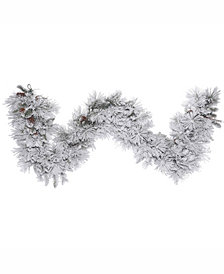 9' Flocked Alberta Artificial Christmas Garland Unlit