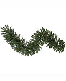 "9' x 14"" Oregon Fir Artificial Christmas Garland with 100 Warm White LED Lights and 240 PVC Tips"