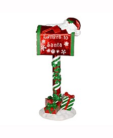 "36"" Red Mailbox that says Letters To Santa featuring gifts"