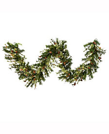 9' Mixed Country Pine Artificial Christmas Garland with 100 Warm White LED Lights