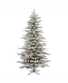 Vickerman 8.5' Flocked Sierra Fir Slim Artificial Christmas Tree with 850 Warm White LED Lights