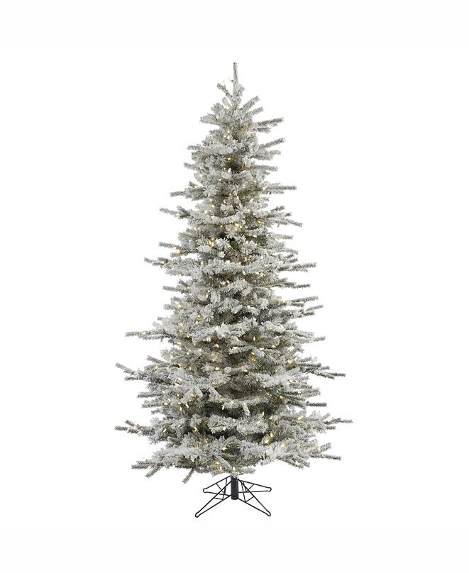 Vickerman 8.5' Flocked Sierra Fir Slim Artificial Christmas Tree with 850 Warm White LED Lights
