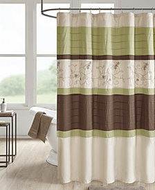 "510 Design Myrtle 72"" x 72"" Embroidered and Pintucked Shower Curtain with Liner"