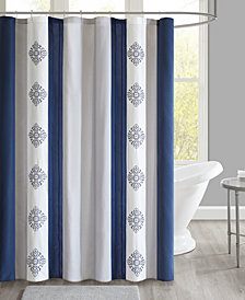 "510 Design Claudine 72"" x 72"" Embroidered and Pieced Shower Curtain with Liner"