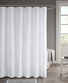 "Codee 72"" x 72"" Solid Decorative Stitched Shower Curtain with Liner"