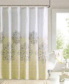 "90 Degrees by Design Lab Jessica 72"" x 72"" Printed Shower Curtain and Hook Set"