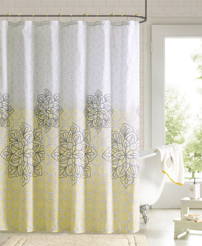 """JLA Home - 90° by Design Lab Jessica 72"""" x 72"""" Printed Shower Curtain and Hook Set"""