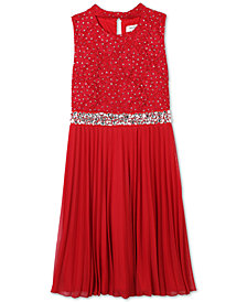 Speechless Big Girls Plus Pleated Glitter Lace Dress