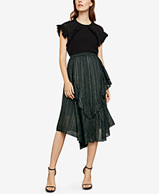 BCBGMAXAZRIA Metallic Asymmetrical A-Line Skirt