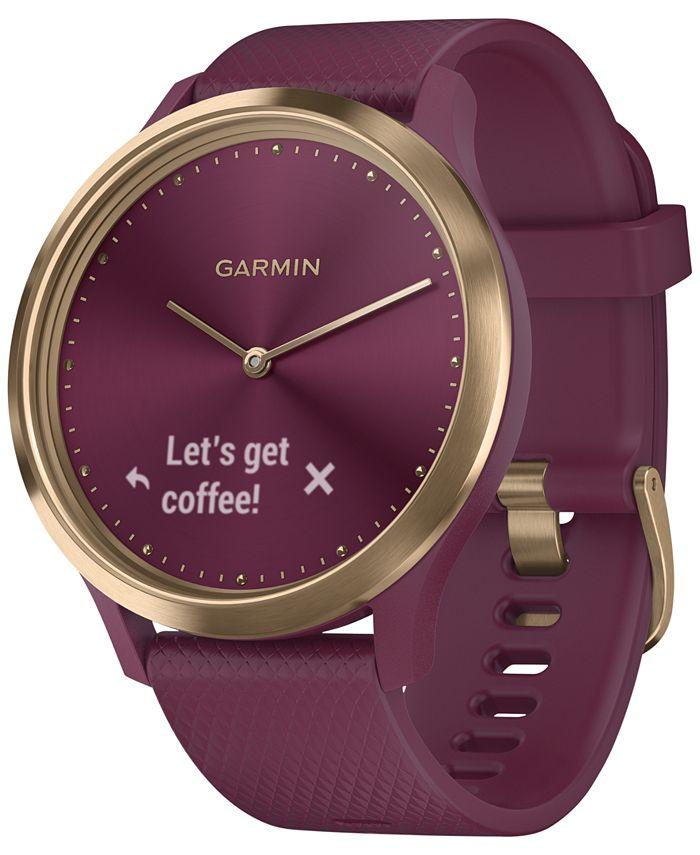 Garmin - Unisex vívomove HR Sport Berry Silicone Strap Hybrid Touchscreen Smart Watch 43mm, Created for Macy's
