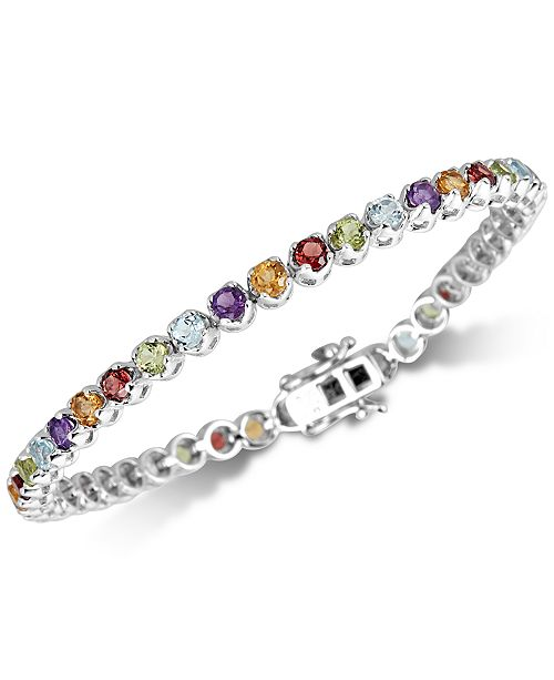 Macy's Multi-Gemstone Tennis Bracelet (5 ct. t.w.) in Sterling Silver