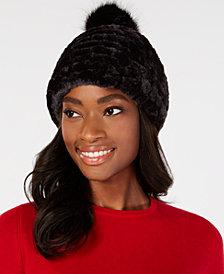 Calvin Klein Knit & Faux-Fur Pom Beanie