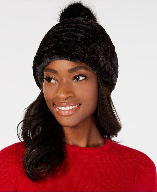 606e740ed14 Calvin Klein Knit   Faux-Fur Pom Beanie - Handbags   Accessories ...