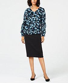 Alfani Ruffled Top & Scuba Skirt, Created for Macy's