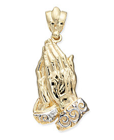 Two-Tone Praying Hands Pendant in 14k Gold & White Gold